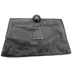 Vintage Black  Leather Clutch Purse w/ Huge Ball Clasp Art Deco 1920s - The Best Vintage Clothing  - 5