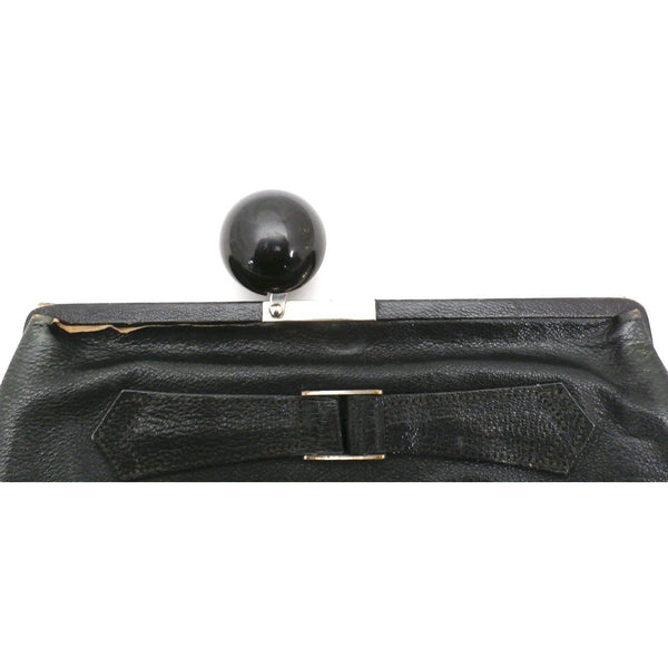 Vintage Black  Leather Clutch Purse w/ Huge Ball Clasp Art Deco 1920s - The Best Vintage Clothing  - 2