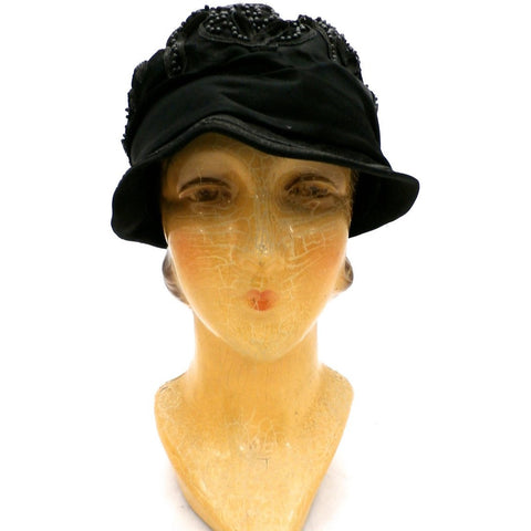 Antique Art Deco Vintage 1920s Ladies Cloche Hat Flapper Style Black Silk Beadwork Soutache Gorgeous Large 23