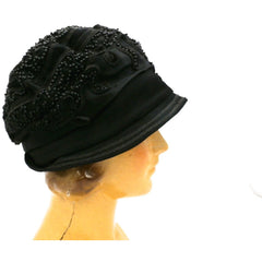 Antique Art Deco Vintage 1920s Ladies Cloche Hat Flapper Style Black Silk Beadwork Soutache Gorgeous Large 23 - The Best Vintage Clothing  - 2