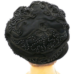 Antique Art Deco Vintage 1920s Ladies Cloche Hat Flapper Style Black Silk Beadwork Soutache Gorgeous Large 23 - The Best Vintage Clothing  - 4