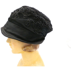 Antique Art Deco Vintage 1920s Ladies Cloche Hat Flapper Style Black Silk Beadwork Soutache Gorgeous Large 23 - The Best Vintage Clothing  - 3