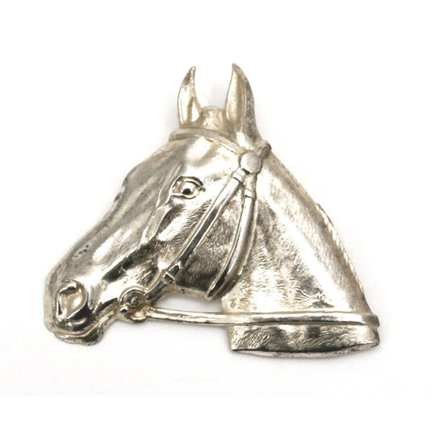 Vintage Silver Plated Horse Head Brooch Large 1920s-1930s