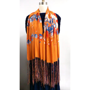 Vintage Womens Silk  Scarf 1920s Floral Orange/Blue Long - The Best Vintage Clothing  - 1