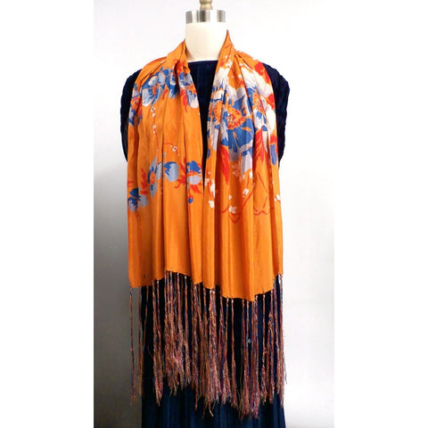 Vintage Womens Silk  Scarf 1920s Floral Orange/Blue Long