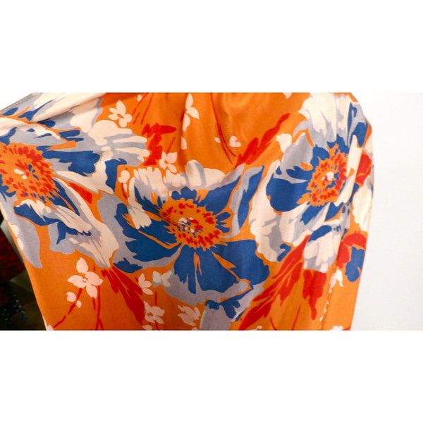 Vintage Womens Silk  Scarf 1920s Floral Orange/Blue Long - The Best Vintage Clothing  - 3
