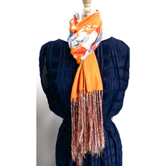 Vintage Womens Silk  Scarf 1920s Floral Orange/Blue Long - The Best Vintage Clothing  - 2
