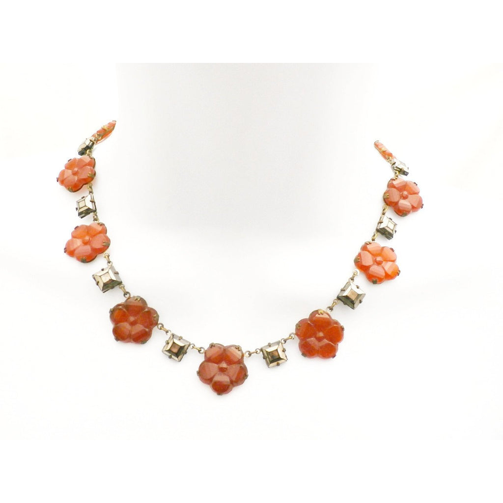 "Best Antique Vintage 1920s Art Deco Carnelian Necklace Flowers & Square Mirrored Stones 15"" - The Best Vintage Clothing  - 1"
