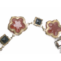 "Best Antique Vintage 1920s Art Deco Carnelian Necklace Flowers & Square Mirrored Stones 15"" - The Best Vintage Clothing  - 2"