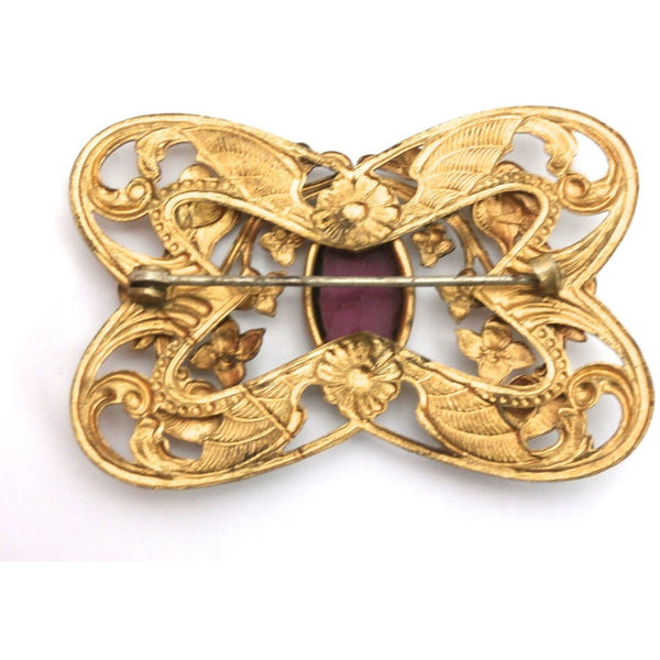 Gorgeous Antique Art Nouveau Gilted Brooch Large Amethyst Stone Center - The Best Vintage Clothing  - 2