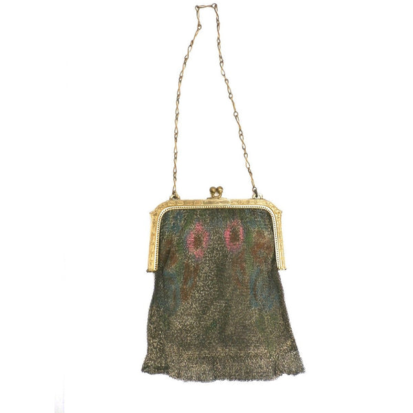 Vintage 1920s Purse Handbag Art Deco Whiting Davis Water Colors - The Best Vintage Clothing  - 1