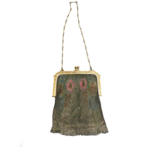 Vintage 1920s Purse Handbag Art Deco Whiting Davis Water Colors
