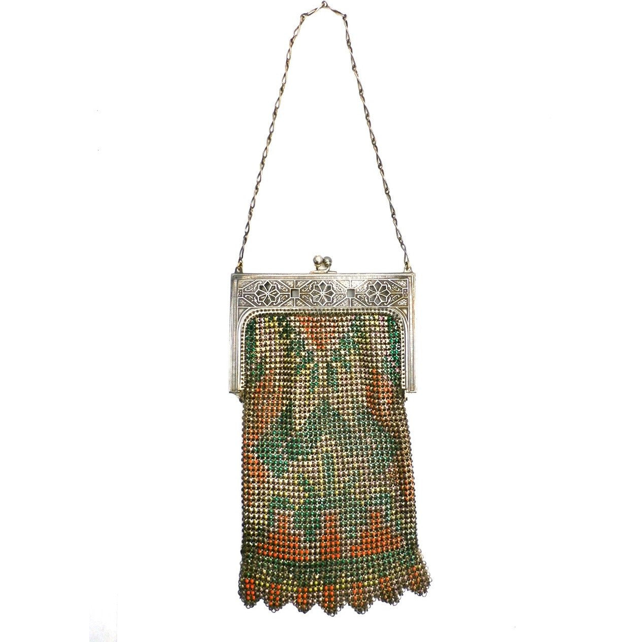 Vintage Purse Art Deco Whiting & Davis Enameled Mesh Purse 1920S Orange Pink Green - The Best Vintage Clothing  - 1
