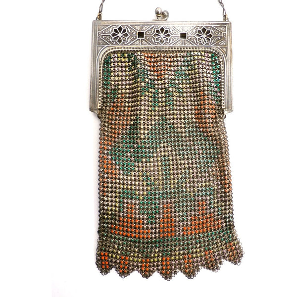 Vintage Purse Art Deco Whiting & Davis Enameled Mesh Purse 1920S Orange Pink Green - The Best Vintage Clothing  - 5