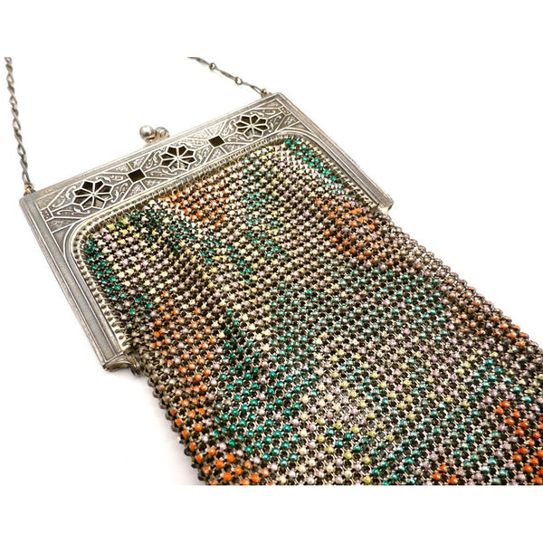 Vintage Purse Art Deco Whiting & Davis Enameled Mesh Purse 1920S Orange Pink Green - The Best Vintage Clothing  - 6