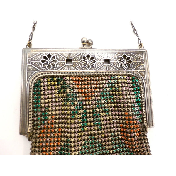Vintage Purse Art Deco Whiting & Davis Enameled Mesh Purse 1920S Orange Pink Green - The Best Vintage Clothing  - 3