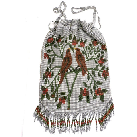 Antique Cut Steel Beaded Purse  Red Birds Motif Victorian Handmade - The Best Vintage Clothing  - 1
