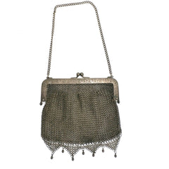 Antique Vintage Bag German Silver Metal Mesh Purse Edwardian - The Best Vintage Clothing  - 1