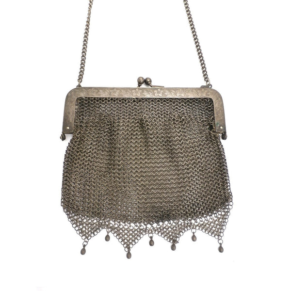 Antique Vintage Bag German Silver Metal Mesh Purse Edwardian - The Best Vintage Clothing  - 3