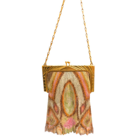 1920S Whiting & Davis Art Deco Pink/Orange Gold  Mesh Purse Vintage - The Best Vintage Clothing  - 1
