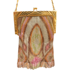 1920S Whiting & Davis Art Deco Pink/Orange Gold  Mesh Purse Vintage - The Best Vintage Clothing  - 5