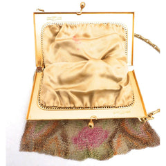 1920S Whiting & Davis Art Deco Pink/Orange Gold  Mesh Purse Vintage - The Best Vintage Clothing  - 4