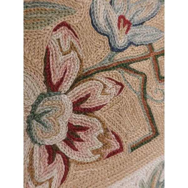 "Vintage Wool Rug Hand  Made Floral 44""X83"" Suffering Moses Srinagar Kashmir 1959"