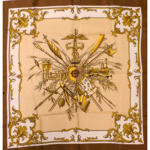 Vintage  Silk Scarf Engineering Theme 1950S S.A.C.M.  Mulhouse