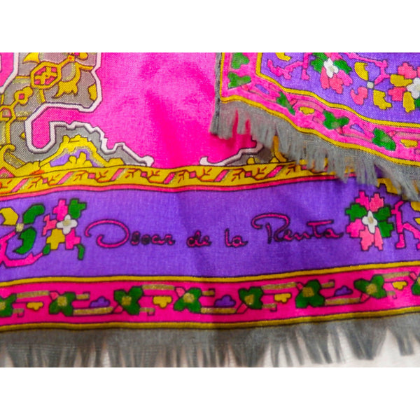 Vintage Oscar De La Renta Silk Scarf Hot Colors Marrakesh Oblong 1970s - The Best Vintage Clothing  - 3