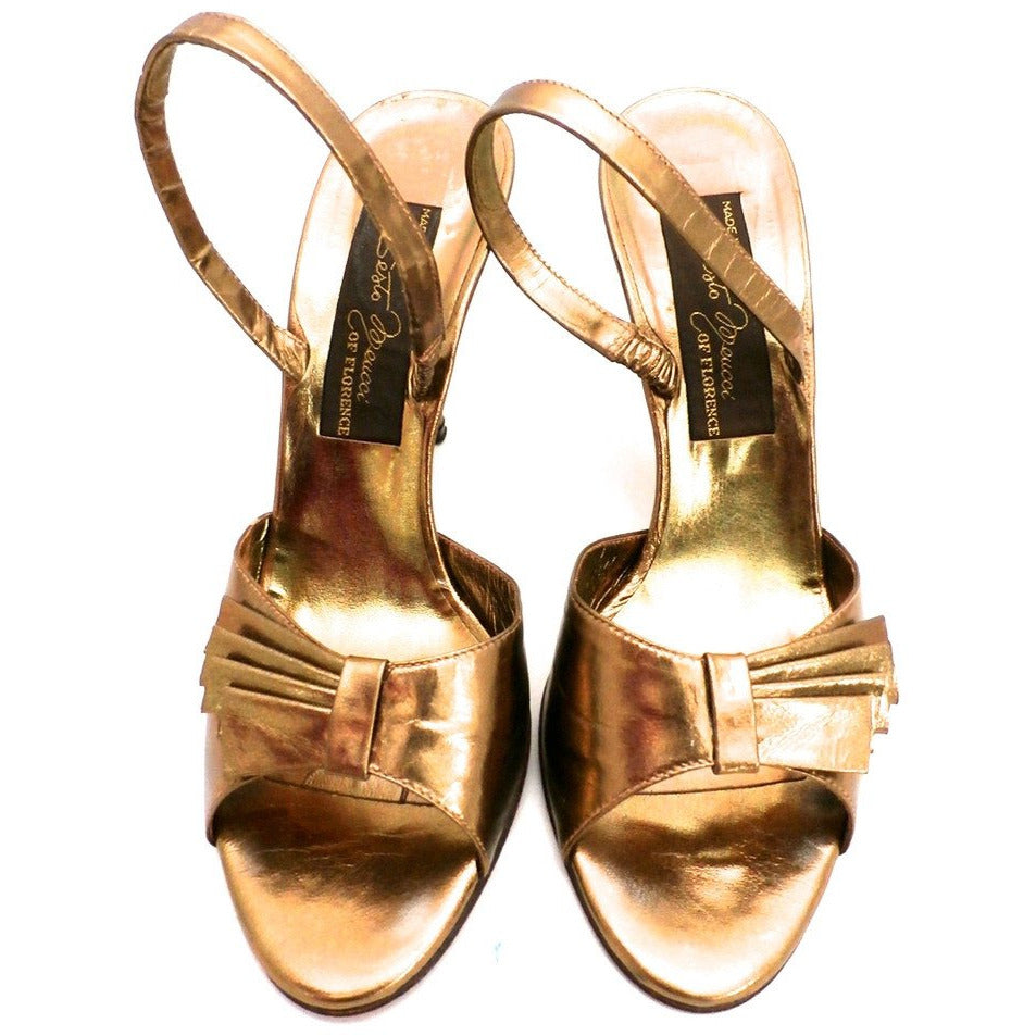 Vintage Womens Shoes Bronze Metallic Slingback Heel Sesto Meucci 6.5 - The Best Vintage Clothing  - 1