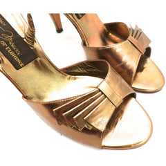 Vintage Womens Shoes Bronze Metallic Slingback Heel Sesto Meucci 6.5 - The Best Vintage Clothing  - 5