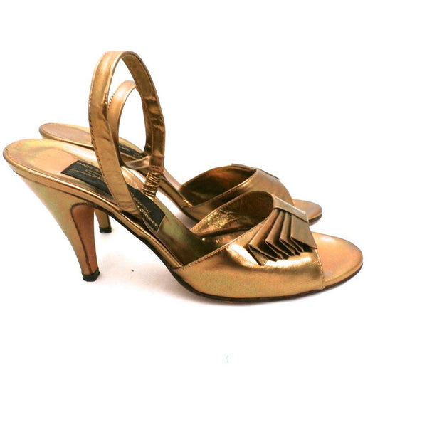Vintage Womens Shoes Bronze Metallic Slingback Heel Sesto Meucci 6.5 - The Best Vintage Clothing  - 3