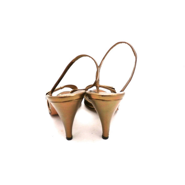 Vintage Womens Shoes Bronze Metallic Slingback Heel Sesto Meucci 6.5 - The Best Vintage Clothing  - 2