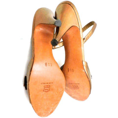 Vintage Womens Shoes Bronze Metallic Slingback Heel Sesto Meucci 6.5 - The Best Vintage Clothing  - 4