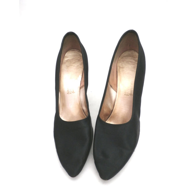 Vintage Ladies Shoes Black Silk Satin Evening Pumps Stiletto Heels -1950S 7.5 - The Best Vintage Clothing  - 1