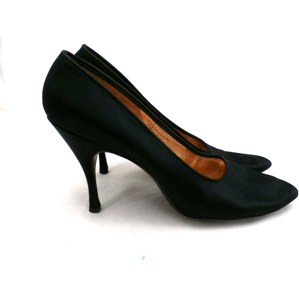 Vintage Ladies Shoes Black Silk Satin Evening Pumps Stiletto Heels -1950S 7.5 - The Best Vintage Clothing  - 3