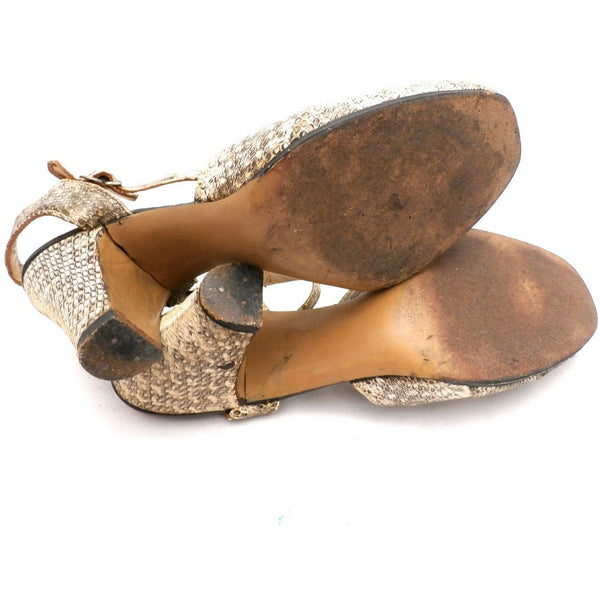 VTG Shoes High-Heel Peep Toe Sandals Klevan Bros Lizard Size Womens 6 M 1940S - The Best Vintage Clothing  - 3