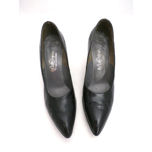 Vintage Shoes  Stiletto Heel Pump Tiny Ackerman Black Leather 1950S Womens  7.5 - The Best Vintage Clothing  - 1