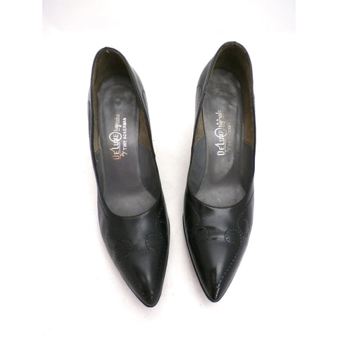 Vintage Shoes  Stiletto Heel Pump Tiny Ackerman Black Leather 1950S Womens  7.5