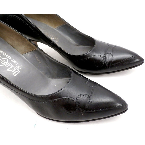 Vintage Shoes  Stiletto Heel Pump Tiny Ackerman Black Leather 1950S Womens  7.5 - The Best Vintage Clothing  - 4