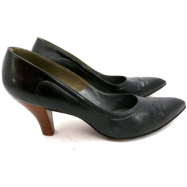 Vintage Shoes  Stiletto Heel Pump Tiny Ackerman Black Leather 1950S Womens  7.5 - The Best Vintage Clothing  - 3