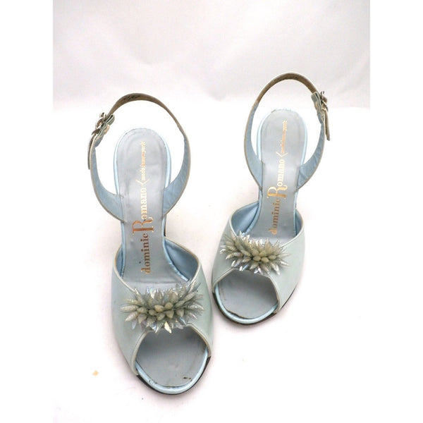 VTG Shoes  Heels Baby Blue Dominic Romano Sling-Back Shoes 1950S Womens  Sz 7M - The Best Vintage Clothing  - 1