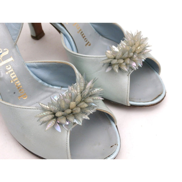 VTG Shoes  Heels Baby Blue Dominic Romano Sling-Back Shoes 1950S Womens  Sz 7M - The Best Vintage Clothing  - 5