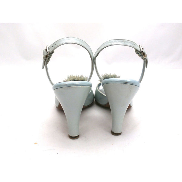 VTG Shoes  Heels Baby Blue Dominic Romano Sling-Back Shoes 1950S Womens  Sz 7M - The Best Vintage Clothing  - 2