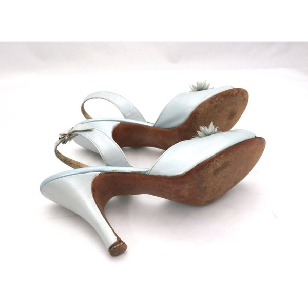 VTG Shoes  Heels Baby Blue Dominic Romano Sling-Back Shoes 1950S Womens  Sz 7M - The Best Vintage Clothing  - 3