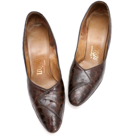 VTG 1950s Shoes  Alligator Pumps Heels Troylings Brown Womens Size 6 M 1960S - The Best Vintage Clothing  - 1