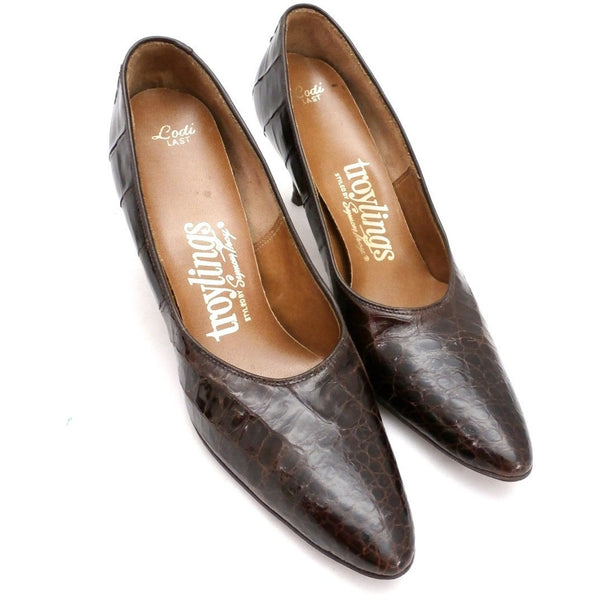VTG Shoes Heels Genuine Alligator Stiletto Shoes Pumps Womens Sz 5.5 1950S - The Best Vintage Clothing  - 4