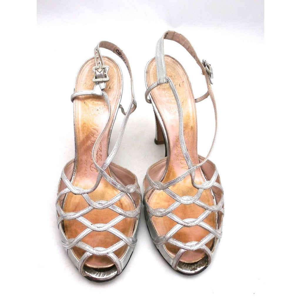 Vintage 1950s Womens Delman Shoes SIlver Leather Evening Sandals 7 N - The Best Vintage Clothing  - 1