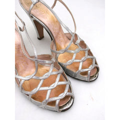 Vintage 1950s Womens Delman Shoes SIlver Leather Evening Sandals 7 N - The Best Vintage Clothing  - 6
