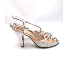 Vintage 1950s Womens Delman Shoes SIlver Leather Evening Sandals 7 N - The Best Vintage Clothing  - 3